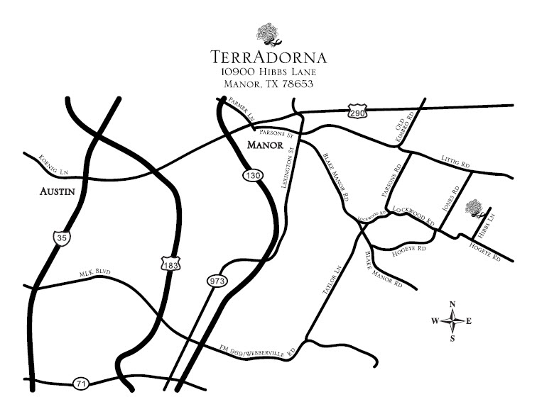 Map to Terradorna Wedding Venue