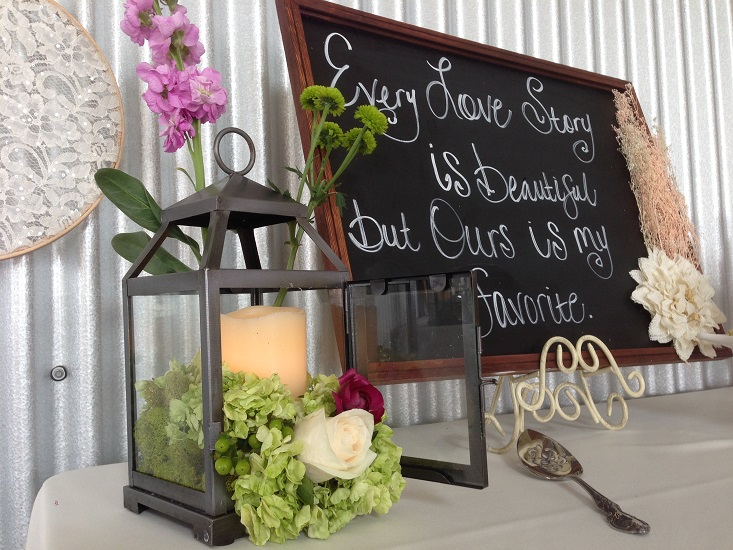 Lantern, Chalkboard with flowers